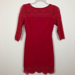 *NWOT* Express Red Stretch & Lace Bodycon Dress